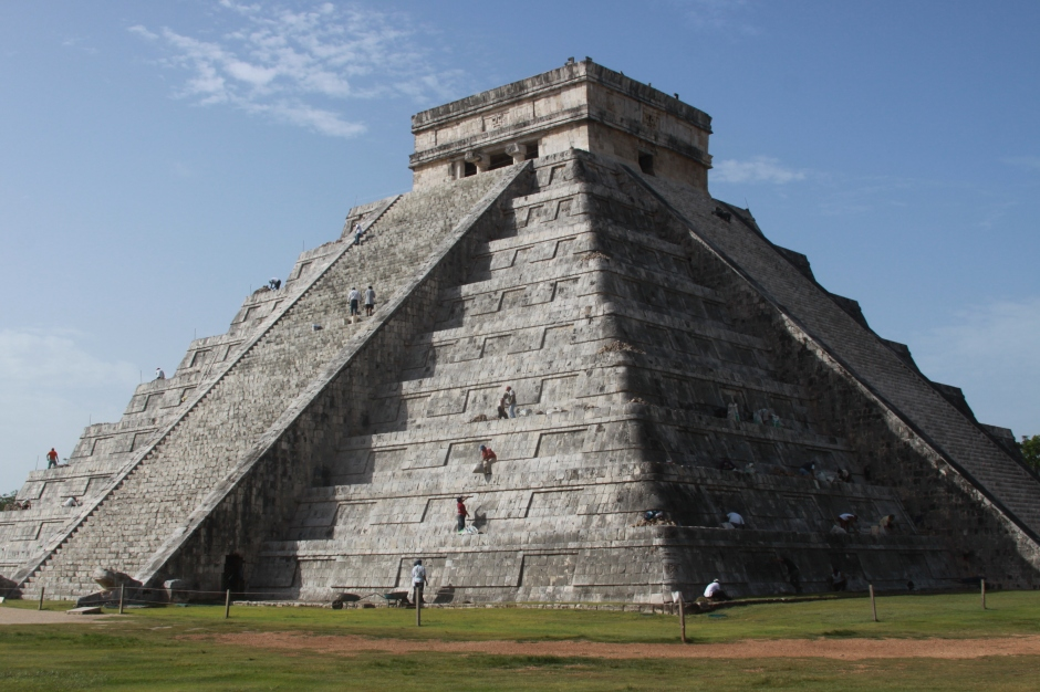 Chichen Itza. Advertised as one of the new seven wonders of the world, The Temple of Kukulcan lives up to its billing. Under reconstruction at the moment, this enormous temple was first crafted by the Maya around 800 AD. The temple is devoted to the plumed snake god, Kukulcan, and at the foot of the staircase (pictured here) are images of those serpents. On the equinoxes, a shadow extends down the staircase, terminating at the snake`s head, and the shadow appears to be the body of a rippling, sinuous snake.