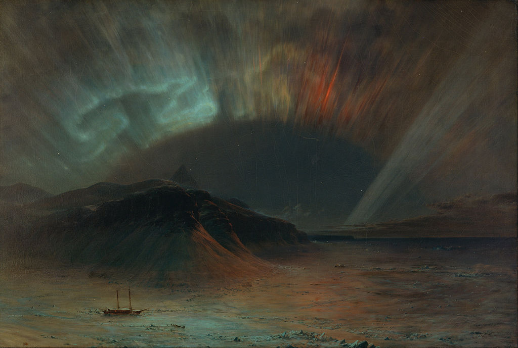 Frederic Edward Church - Red and Green Northern Lights Over Seascape