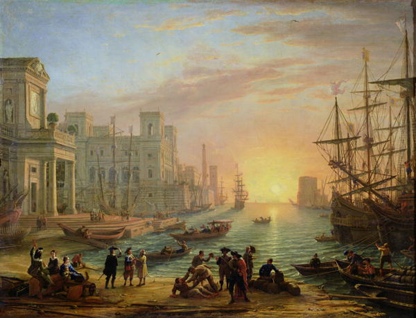 Claude Lorrain - Seaport at Sunset
